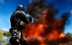 Picture weapons, background, fire, soldiers, Battlefield 4