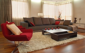 Wallpaper design, style, room, sofa, red, carpet, apples, furniture, interior, chair, brown, table