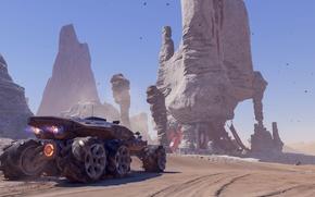 Wallpaper montain, sky, car, sand, Mass Effect, Mass Effect Andromeda, suna, Mass Effect: Andromeda, game, Andromeda