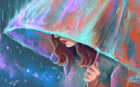 Picture girl, rain, umbrella, art