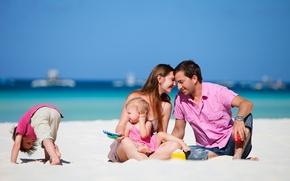 Picture sand, sea, beach, summer, the sky, girl, children, family, guy