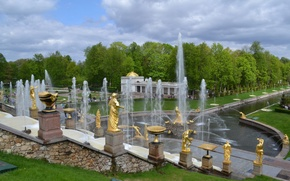 Picture summer, trees, Park, gold, fountain, statues, green grass, fountains of Peterhof