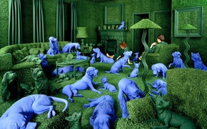 Picture Sandy Skoglund, obsessions, blue dog, the green room