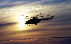 Picture the sky, flight, spinner, silhouette, helicopter, Russia, BBC, bokeh, helicopter, OKB, Russian, multipurpose, Mi-8, Soviet, ...