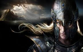 Picture the wind, elf, tower, mountain, art, helmet, Warhammer, armor, elf, illustration to the book, DAREN …