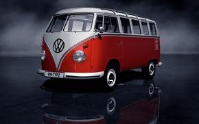 Picture white, red, speed, Volkswagen, art, max, car, first, minibus, Transporter, Volkswagen, years, civil, model., second, …