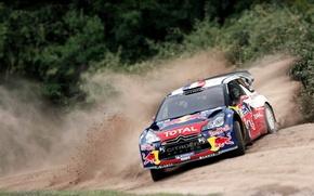 Picture Auto, Sport, Machine, Turn, Citroen, The hood, Skid, Citroen, Lights, Car, Red Bull, DS3, WRC, …