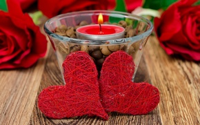 Picture holiday, candle, hearts, Valentine's day, hearts, Valentine's day, candle, a holiday