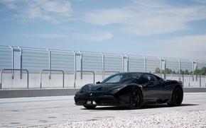 Picture black, the fence, ferrari, Ferrari, black, 458 speciale