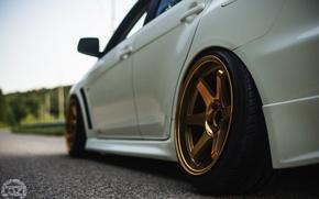 Picture road, light, Mitsubishi, gold, lancer, evolution, evo X