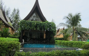 Picture greens, the sky, water, house, Palma, stay, pool, yard, pagoda, gazebo, the bushes