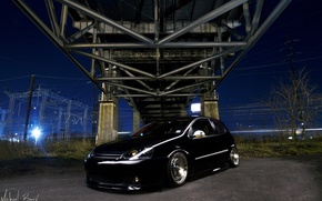 Picture night, bridge, wire, black, Golf, golf, Volkswagen golf