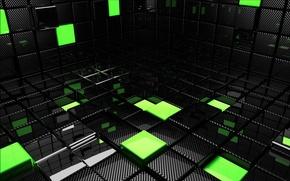 Wallpaper Cuba, squares, cubes, green, black