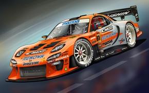 Picture art, Mazda, front, Mazda, RX-7, race car, kit