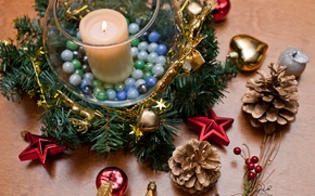 Picture stars, tree, holiday, apples, toys, tree, candle, New year, bumps, Christmas wreath, on new years ...