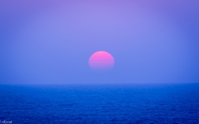 Wallpaper the sky, the sun, sunset, the ocean, the evening, Japan, horizon, lilac