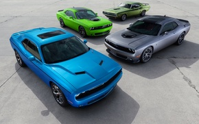 Picture green, Dodge, Challenger, cars, grey, muscle, blue, 1970, and, R/T, 2015