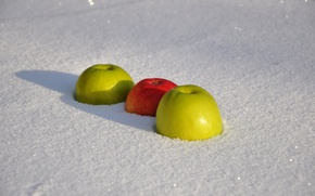 Picture winter, the sun, snow, background, red, widescreen, Wallpaper, apples, Apple, food, shadow, wallpaper, green, widescreen, …