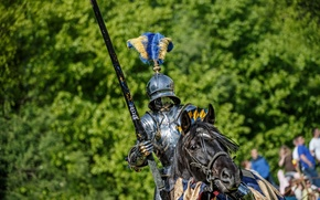 Wallpaper metal, horse, horse, armor, warrior, knight