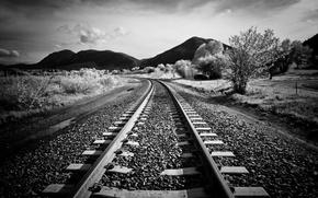 Picture landscape, rails, railroad, sleepers