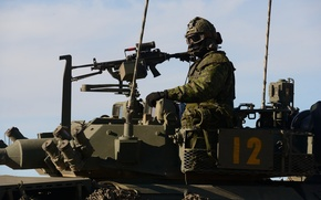 Wallpaper machine gun, armor, soldiers, weapons, tank