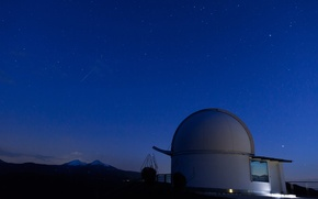 Picture sky, mountains, clouds, stars, telescope, technology, long exposure, observation