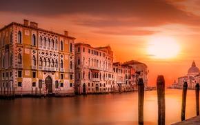 Wallpaper home, the evening, Italy, Venice, Cathedral, channel, Santa Maria della salute