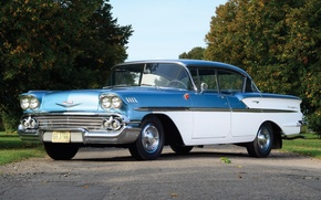 Picture road, the sky, trees, sport, Chevrolet, Chevrolet, sedan, classic, Bel Air, the front, 1958, Bel …