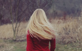 Picture girl, clothing, back, blonde, red