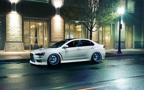 Picture white, night, Windows, lights, Mitsubishi, Lancer, white, Evolution, Lancer, Mitsubishi, evolution, Vossen Wheels