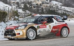 Picture Winter, Wheel, Citroen, DS3, WRC, Rally, Side view, D. Elena, S. Loeb