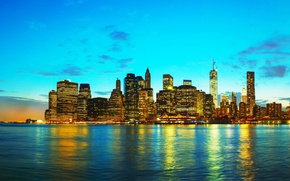 Picture sunset, beauty, skyscrapers, USA, New York, New York