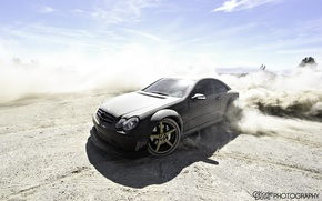 Picture car, tuning, dust, skid, Mercedes, tuning, mercedes clk