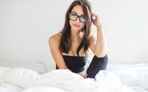 Picture brunette, bed, glasses, latina, sexy look, black socks, michele maturo, martin murillo