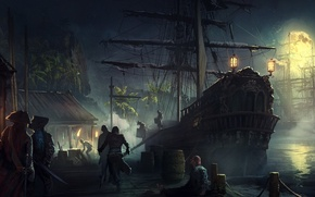 Picture moon, fantasy, Pirates, night, people, painting, weapons, ship, pier, artwork, swords, harbor, galleon, sailing ship