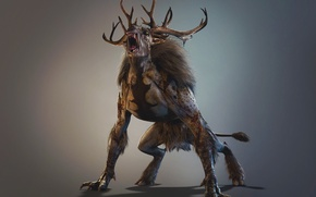 Picture horns, beast, The Wild Hunt, Art, The Witcher, CD Projekt RED, The Witcher 3: Wild …