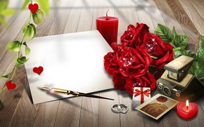 Picture roses, Sheet, ring, candles, handle, paper