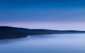 Picture sea, beach, the sky, line, fog, stones