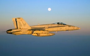 Picture the sky, flight, sunset, the plane, the moon, fighter, pilot