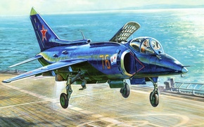 Picture the plane, figure, USSR, Navy, carrier-based attack aircraft, the Yak-38, Yakovlev
