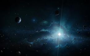 Picture space, star, planet, asteroids, art, bright, Divine