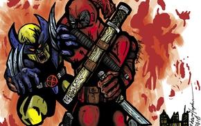 Picture Sword, Wolverine, Wolverine, Deadpool, Marvel, Deadpool, Wade Wilson