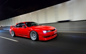 Picture nissan, turbo, red, japan, jdm, tuning, silvia, speed, low, 200sx, s14, stance
