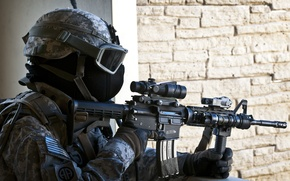 Picture weapons, mask, soldiers, machine, equipment, assault rifle