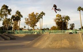 Picture the city, sport, guy, BMX, art, Sport, the trick, in flight, skate Park