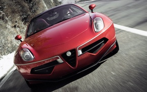 Wallpaper Flying Disc, Touring, the front, machine, Alfa Romeo, lights