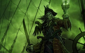 Wallpaper captain, green, Ghost, parrot, skull