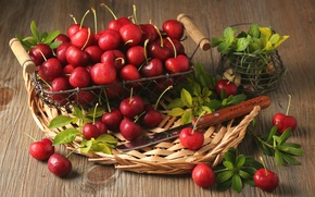 Picture leaves, berries, basket, red, mint, cherry
