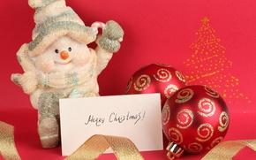 Wallpaper Christmas, snowman, Merry Christmas