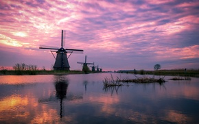 Picture lake, house, reflection, tree, dawn, spring, mill, Netherlands, architecture